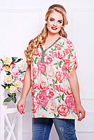 Блуза из шифона с декором НИТА розовая, фото 1