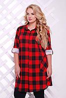 Платье-рубашка в клетку ЛОРЕНС красная, фото 1