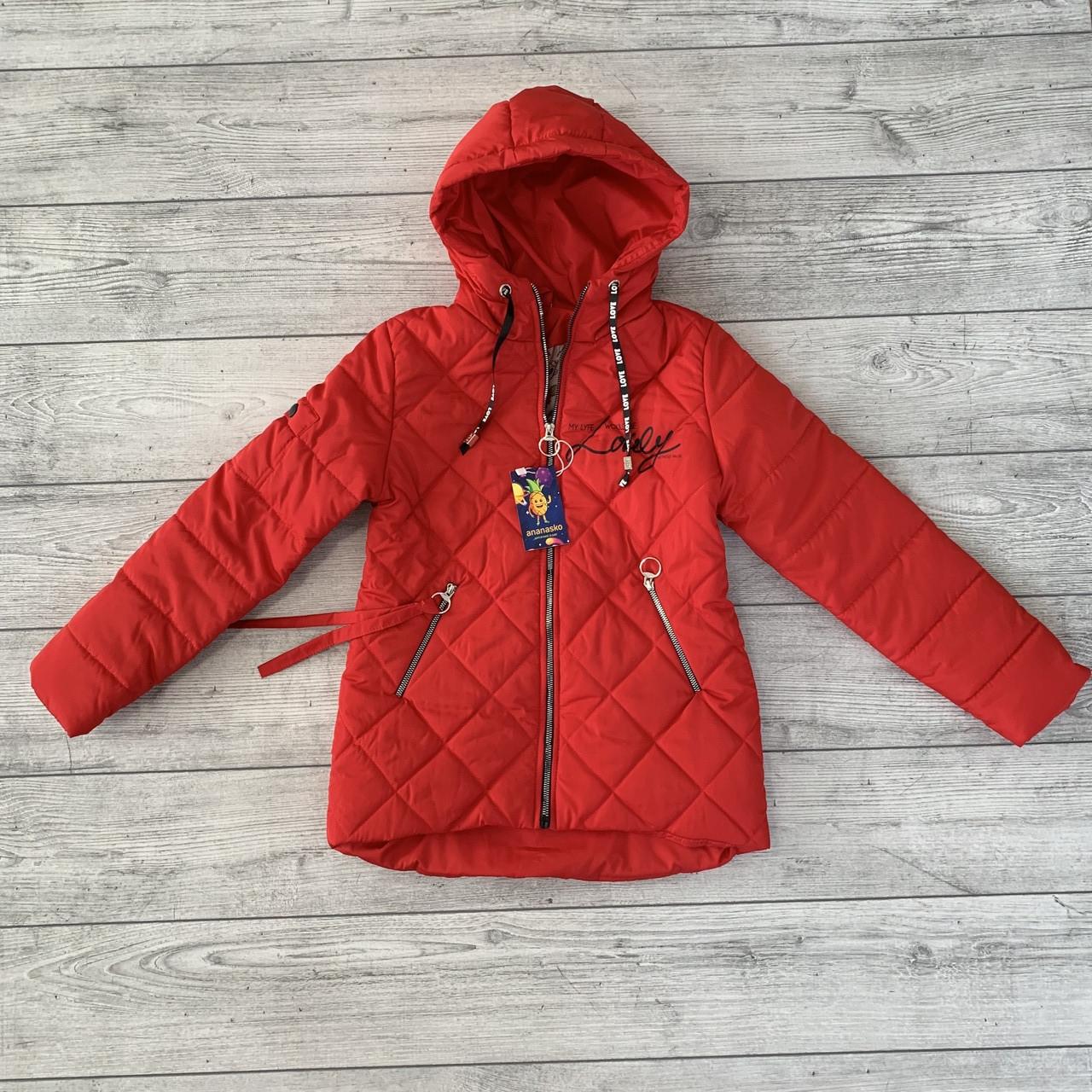 Весенняя куртка на девочку размеры 134-152, коллекция Весна 2019 красный цвет