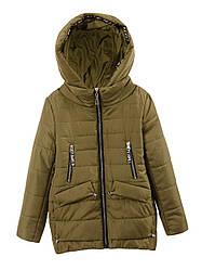 Детская демисезонная куртка на девочку, хаки, р.128,134