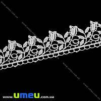 Кружево плетеное Тюльпаны, 37 мм, Белое, 1 м (LEN-011920)