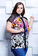 Рубашка с удлинненной спинкой розовые цветы АЛИНА темно-синяя, фото 1