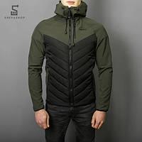 Демисезонная мужская куртка Pobedov Soft Shell combi V2 черно-зеленая