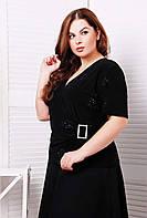 Блуза однотонная  со стразами ЛЮБАВА черная, фото 1