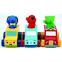 Деревянные машинки с фигурками: Иван, Патрик, Сем. Ks Kids, зайчик Иван в такси