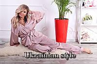 Женский батальный шелковый домашний комплект-пижама (штаны и накидка). 3 цвета!