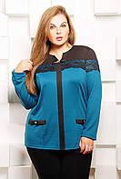 Блуза с отделкой из гипюра АСЯ голубая, фото 1
