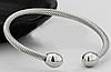Медный браслет с магнитами (витой) цвет серебро.