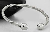 Медный браслет с магнитами (витой) цвет серебро., фото 1