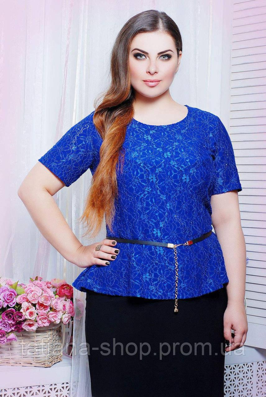 Блуза из гипюра ПАУЛА синяя, фото 1