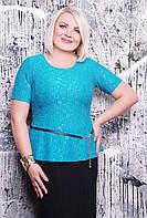 Блуза из гипюра ПАУЛА бирюзовая, фото 1