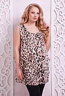 """Многослойная блуза принт """"леопард"""" ВЕНЕРА коричневый, фото 1"""