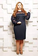 Платье однотонное с гипюровыми вставками БЕТТИ темно-синее, фото 1