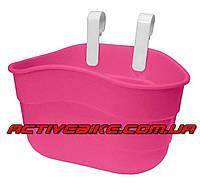 Корзина для детского велосипеда пластиковая, розовая.