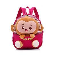 Детский рюкзак со съемной игрушкой Обезьянка для дошкольников (розовый)