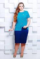 Платье жаккардовое КАМИЛЛА голубое, фото 1