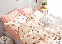 Детское подростковое постельное полуторное белье сатин Вилюта - КЛУБНИКА