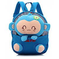 Рюкзак-игрушка детский Обезьянка в садик (голубой)