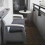 Софа двомісна зі штучного ротангу CORFU LOVE SEAT білий (Allibert), фото 8