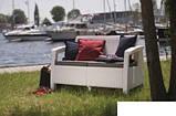Софа двомісна зі штучного ротангу CORFU LOVE SEAT білий (Allibert), фото 10