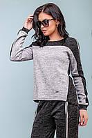 Повседневный женский костюм в спортивном стиле из ангоры 44-50 размера серо- черный, фото 1