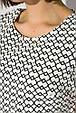 Блузка, рубашка женская с узором и коротким рукавом 19PL163 (Молочно-черный), фото 4