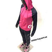 Спортивный костюм adidas женский WTS Lin FT Hood DV2426 цвет  синий розовый  оригинальный 7d9e4499a09b3