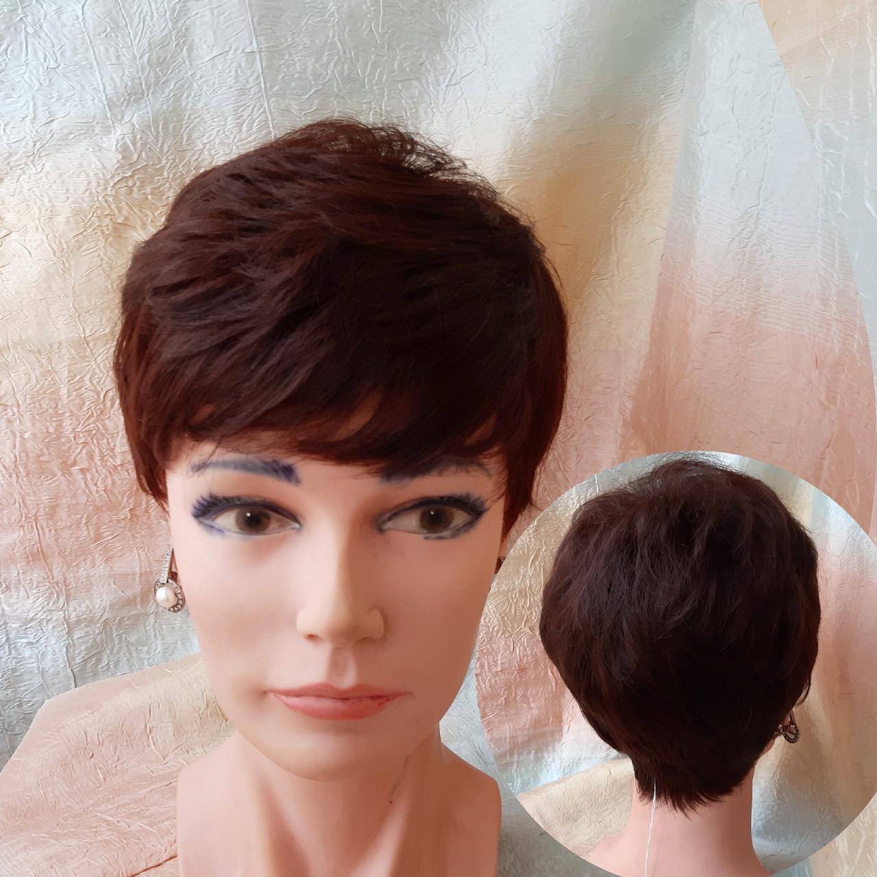 Короткий парик из термоволокна каштановый 2763t-33