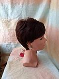 Короткий парик из термоволокна каштановый 2763t-33, фото 3