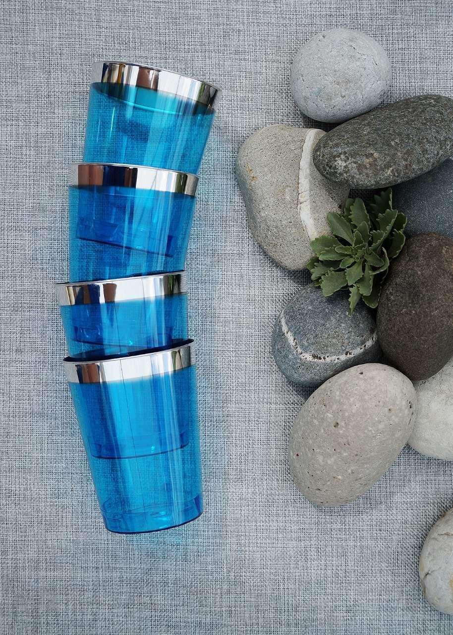 Стакан пластиковый одноразовый 6 шт 220 мл плотный синие с серебром для свадьбы, фуршета Capital For People.