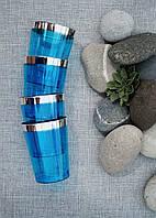 Стаканы пластиковые плотные многоразовые синие с серебром для свадьбы. Коллекция «Мельбурн» CFP 6 шт 220 мл