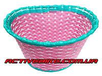 Корзина для детского велосипеда плетеная, розовая.