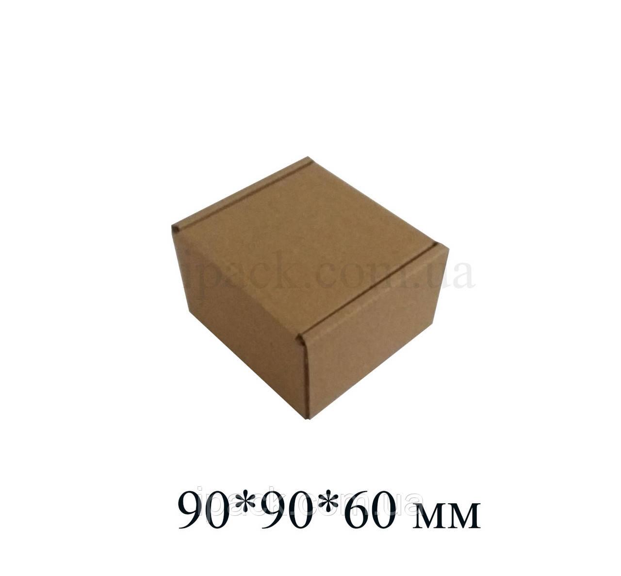 Коробка картонная самосборная, 90*90*60, мм, бурая, крафт, микрогофрокартон
