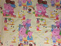 Детское (подростковое) полуторное постельное белье бязь Gold - ПЕППА НА ЖЕЛТОМ