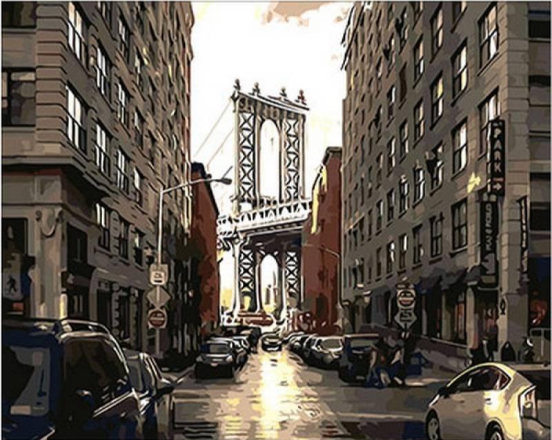 """Картина по номерам 50х40см Mariposa Turbo """"Улицы большого города"""""""