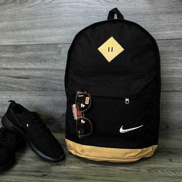 Городской рюкзак портфель NIKE Найк с кож дном Стильный молодежный Черный с бежевым Vsem