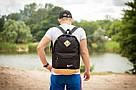 Городской рюкзак портфель NIKE Найк с кож дном Стильный молодежный Черный с бежевым Vsem, фото 8