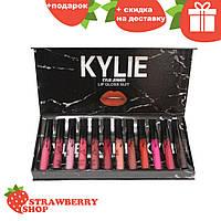 Набор жидких матовых помад Kylie Black в мраморной черной упаковке 12 штук | помада Кайли