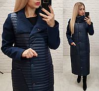 Пальто-куртка кокон, арт.138, цвет темно синий, фото 1