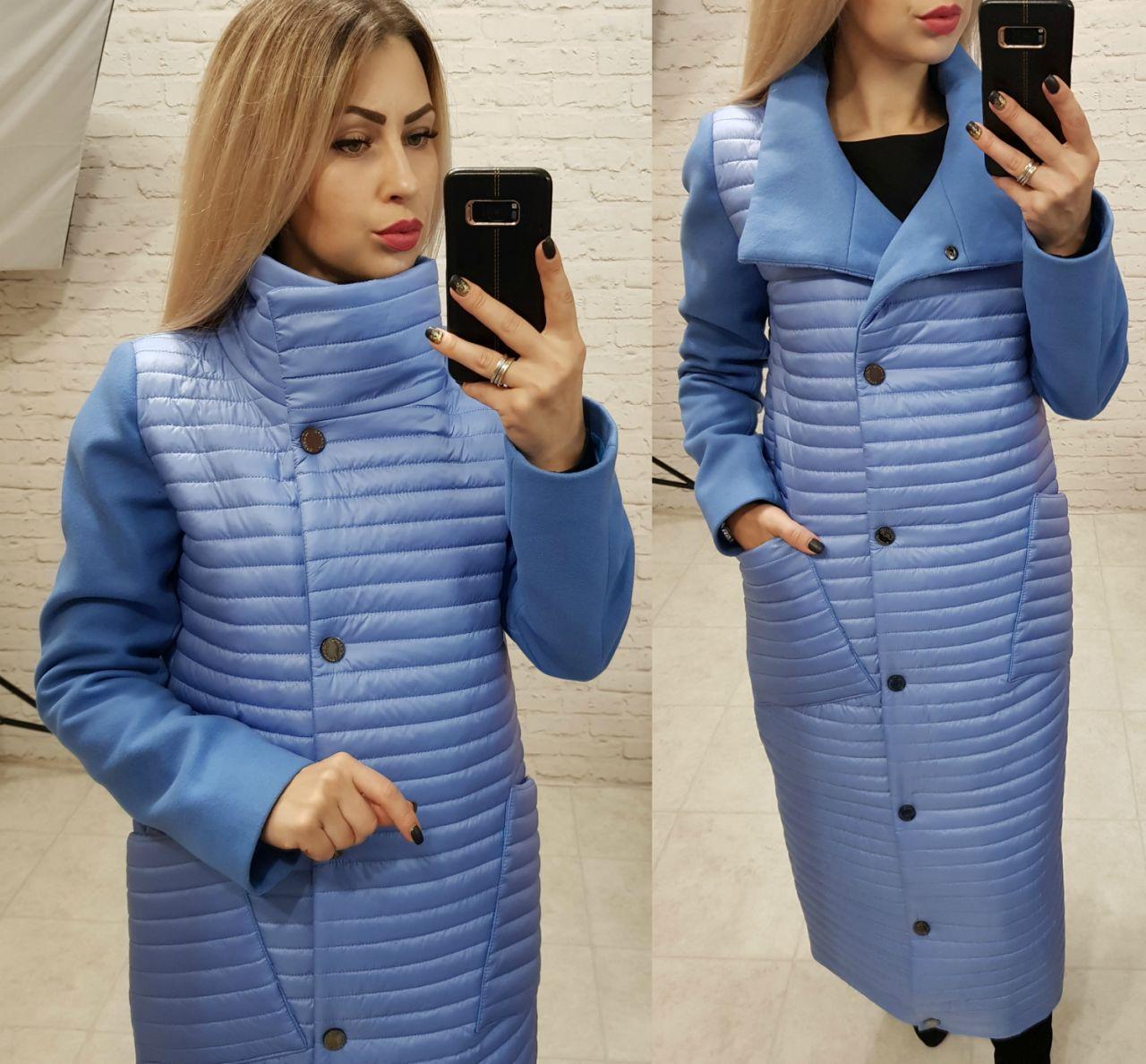 Пальто-куртка кокон, арт.138, волошковий колір