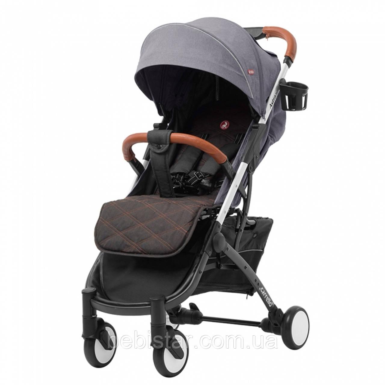 Прогулочная летняя детская коляска с сумкой москитной сеткой и дождевиком серая CARRELLO Astra Dolphin Grey