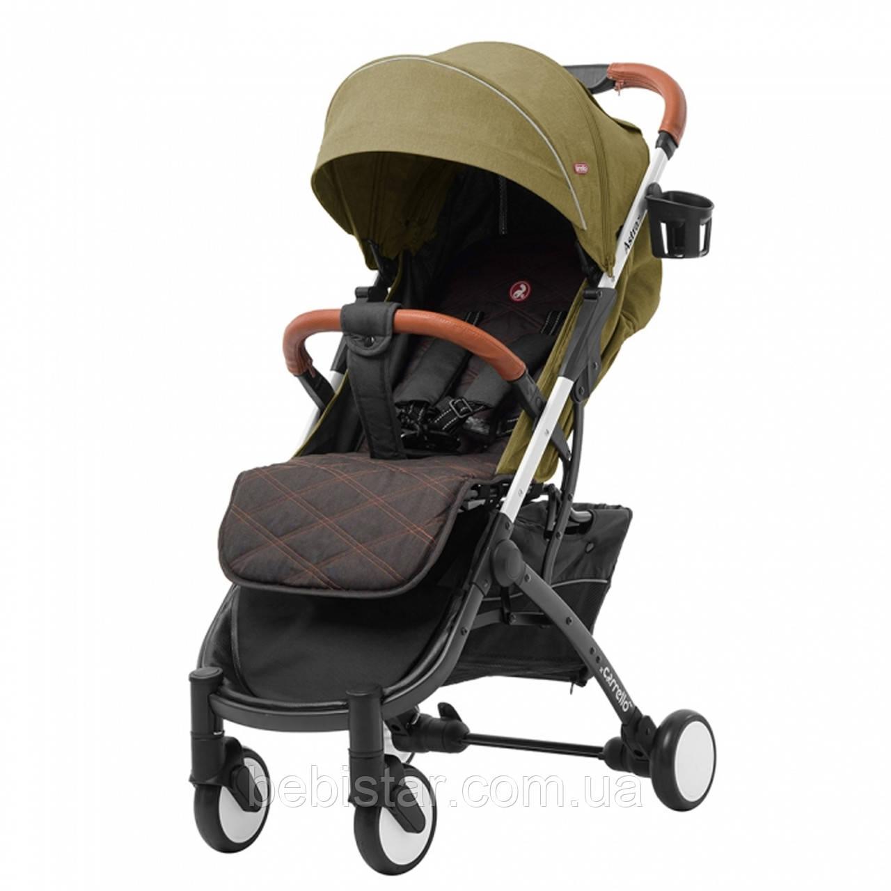 Прогулочная летняя детская коляска с сумкой москитной сеткой и дождевиком зеленая CARRELLO Astra Jungle Green