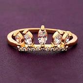 Кольцо женское Корона позолота Xuping.  Медицинское золото. Размер 17
