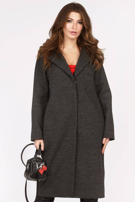 Женское шерстяное пальто демисезонное темно-серое, фото 2