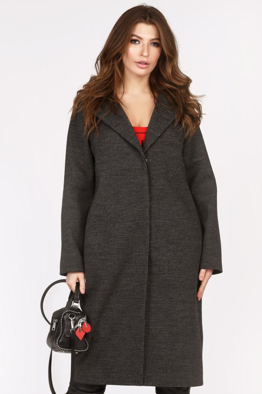 Женское шерстяное пальто демисезонное темно-серое