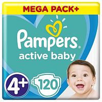 Подгузники Pampers Active Baby Maxi Plus 4+ (9-16 кг) Mega Pack, 120 шт.