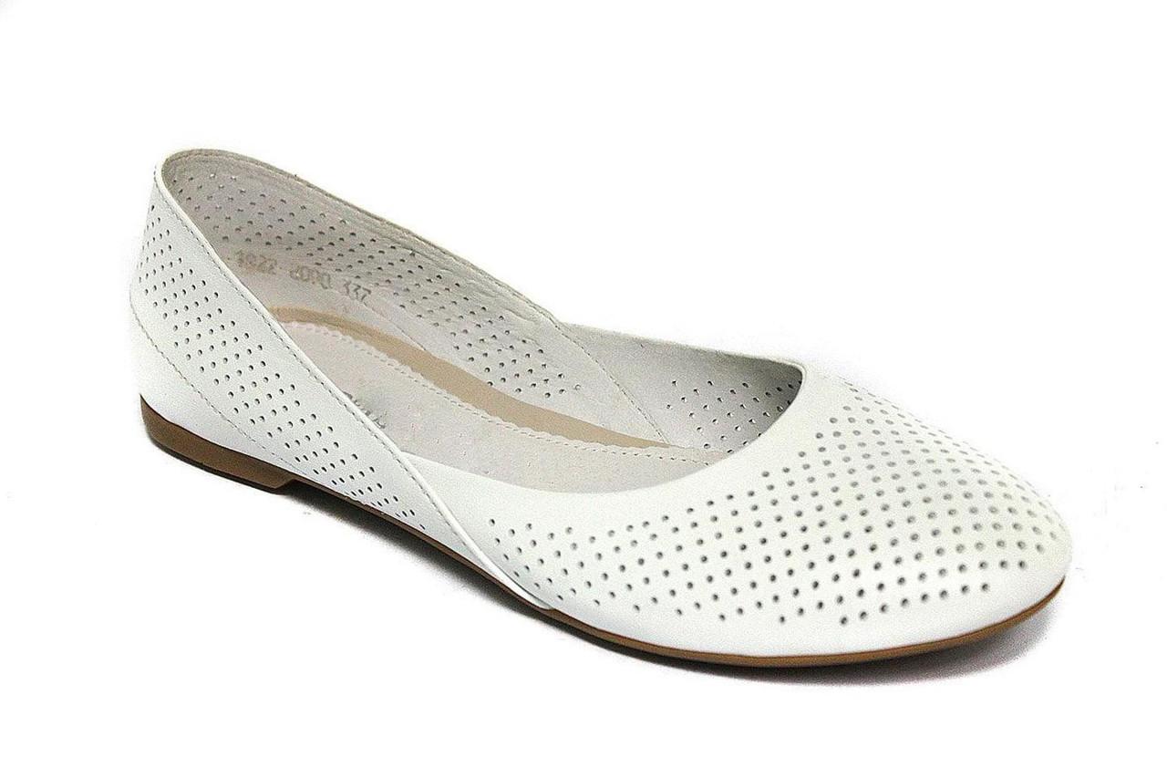Белые балетки женские кожаные Scara U White Perf Leather by Rosso Avangard BS летние