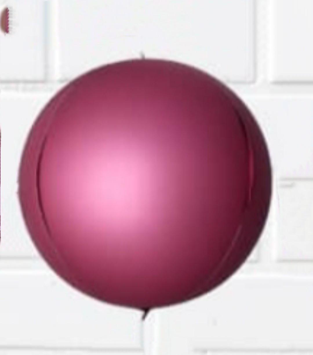 Фольгированный шар сфера 3D, бургундия хром, 10 дюймов/25 см.