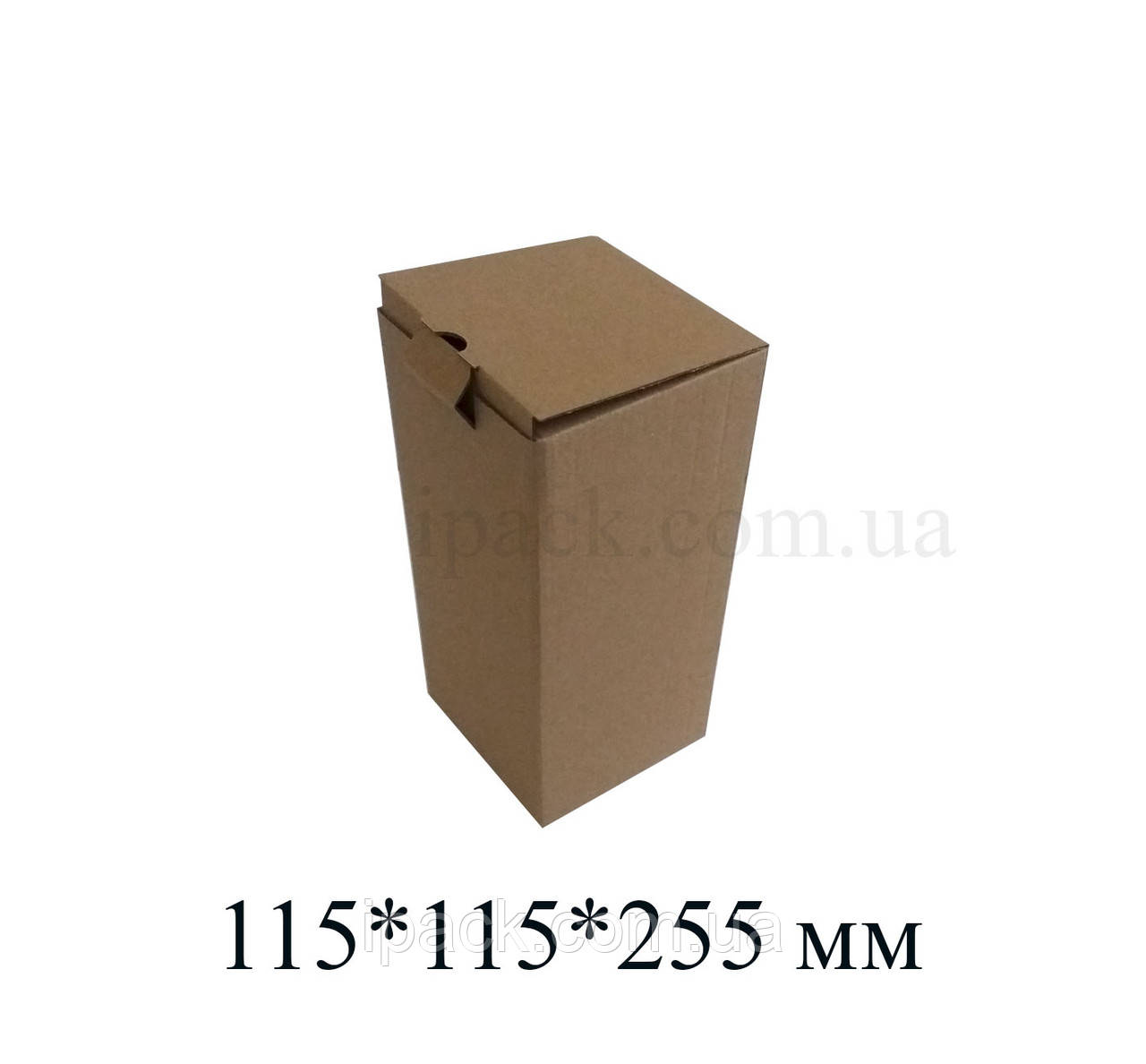 Коробка картонная самосборная, 115*115*255, мм, бурая, крафт, микрогофрокартон