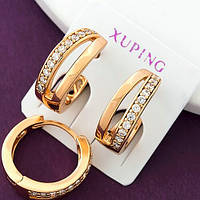 Женские серьги-колечки, позолота Xuping. Медицинское золото